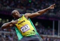 Jamaican sprinter Usain Bolt poses after