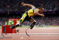 Oscar Pistorius of South Africa starts the
