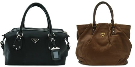 From left are leather tote bags by Prada and MCM. The second-hand items are  the top sellers at Inter-Park.   Courtesy of InterPark 52aa758dbb3d8