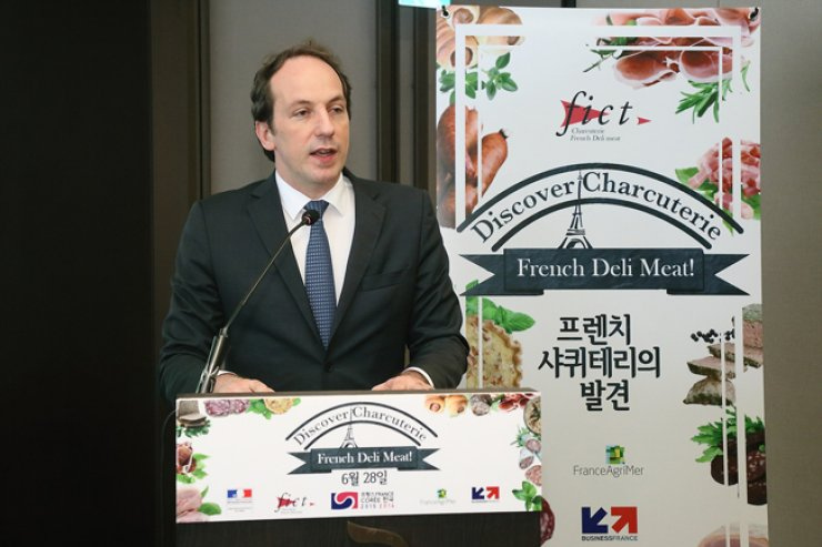 French Ambassador to Korea Fabien Penone speaks during a reception at his residence in Seoul on June 28 to mark the occasion of the 'Discover Charcuteries' event that featured six charcuterie producers from France. / Courtesy of the French Embassy