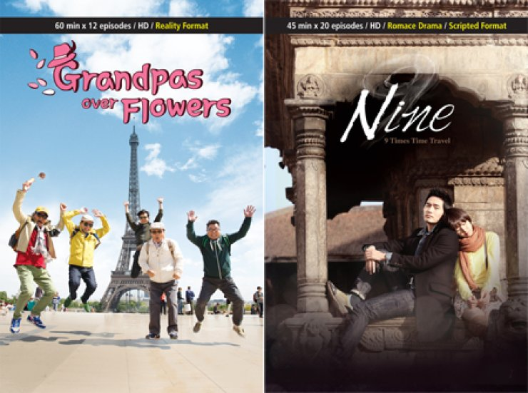 A poster of tvN's reality travel program 'Grandpas Over Flowers' and sci-fi drama 'Nine.' The overseas demand for the broadcaster's content and its production knowhow is on the rise. / Courtesy of tvN