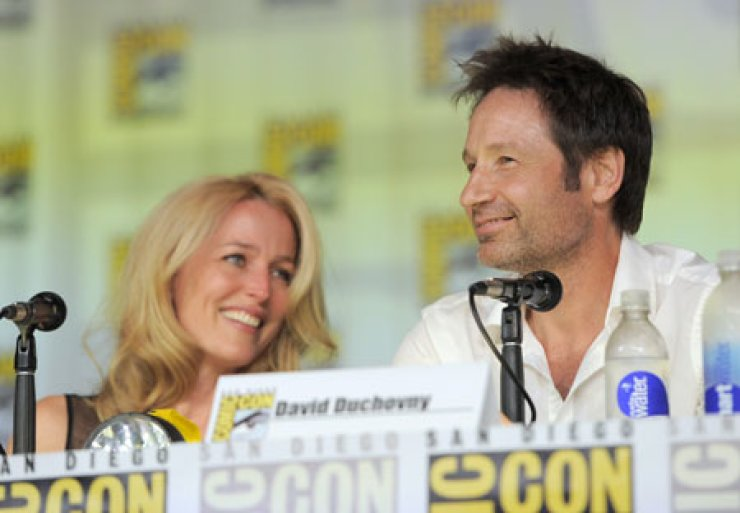 Gillian Anderson, left, and David Duchovny attend the 'The X Files' 20th Anniversary panel on Day 2 of Comic-Con International in San Diego, Calif., Thursday. / AP-Yonhap