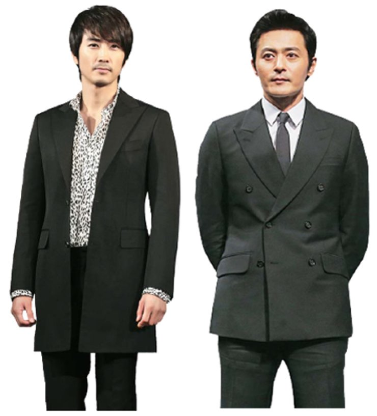 Song Seung-heon, left, and Jang Dong-gun - will venture into new roles in upcoming films 'Obessed' and 'Crying Man' respectively. / Yonhap and Korea Times