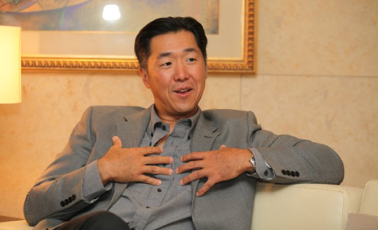 Chairman of Global Peace Foundation Moon Hyun-jin speaks during an interview Saturday. / Courtesy of GPF