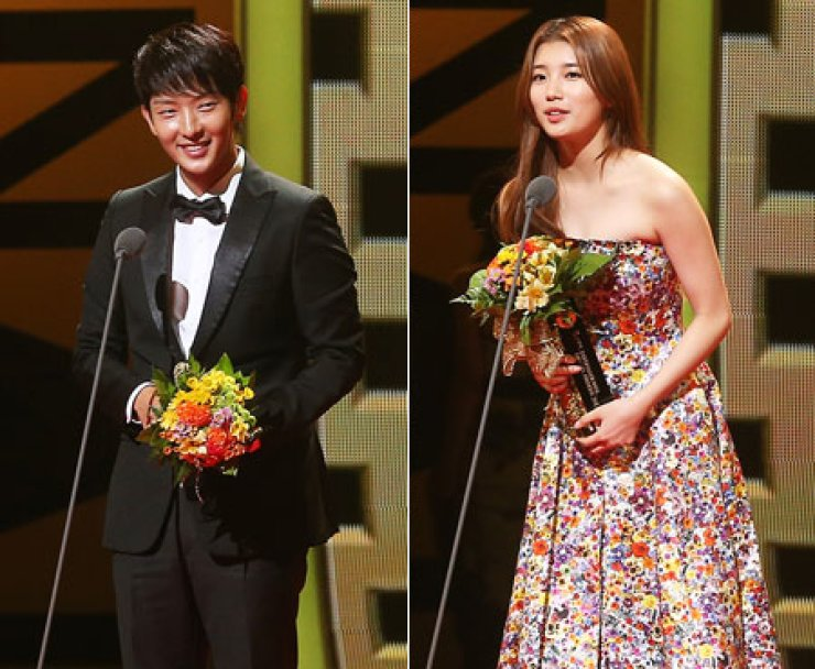Actor Lee Joon-gi and actress Suzy speak after winning Best Actor and Actress awards respectively at the Seoul International Drama Awards in Seoul, Thursday./ Yonhap