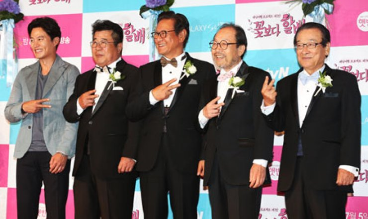 Actors of a new reality show 'Halbae (Grandfathers) Over Flowers' pose at the launching ceremony at Patio9, Nonhyeon-dong, southern Seoul, in thisJune 28 file photo. From left are actors Lee Suh-jin, Baek Il-sup, Park Geun-hyung, Shin Gu and Lee Sun-jae. / Korea Times