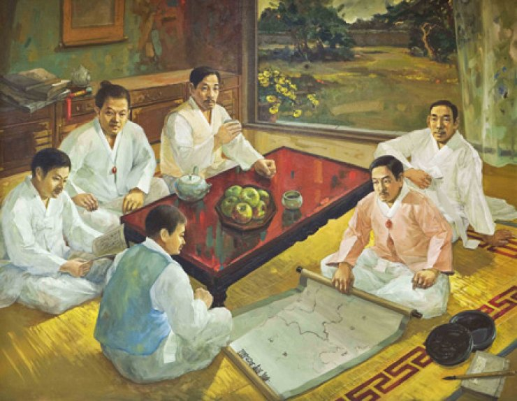 A painting shows Lee Hoe-yeong and his five brothers discussing their plan to move to western Gando in northeast China for independence movement at their home in central Seoul in 1910. / Courtesy of Rep. Lee Jong-kul