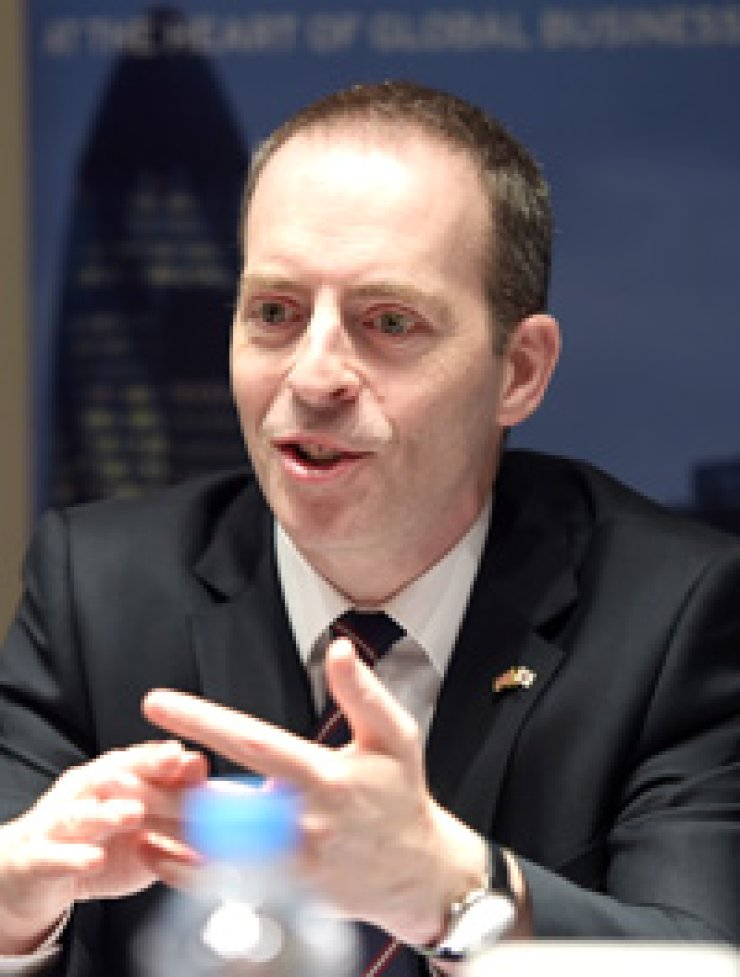 British Trade Minister Ian Livingston speaks during an interview with The Korea Times at the Plaza Hotel in Seoul on March 17. / Korea Times