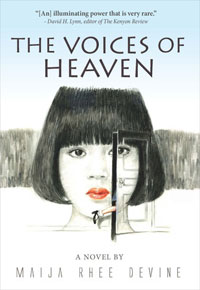 Maija Rhee Devine borrows from her personal experience in 'The Voices of Heaven,' which revolves around the story of a couple and their secretly adopted daughter in the days leading up to the Korean War. Their quiet life begins to split at the seams after a mistress moves in with the family to bear a male child, which was deemed necessary in a society dictated by Confucianist culture. / Yonhap