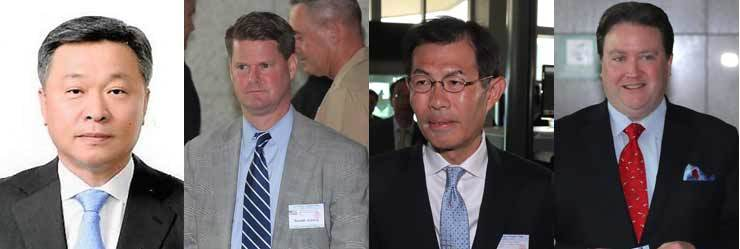 From the left are Chung Suk-hwan, deputy minister for national defense policy, Randall Schriver, assistant secretary of defense for Indo-Pacific security affairs at the U.S.' defense department, Takeshi Ishikawa, deputy director-general defense policy bureau of Japan's defense ministry and Marc Knapper, U.S. acting deputy assistant secretary for Japan and Korean affairs. Yonhap