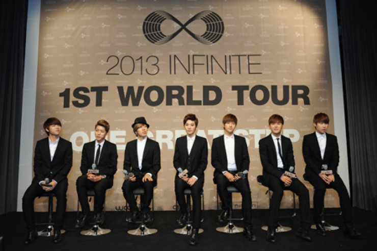 Just three years after its debut, the seven-member K-pop group Infinite will go on a world tour starting in Seoul Aug. 8-9, and then going to the UnitedStates and Latin America. The tour is jointly organized by its agency Woollim Entertainment, Live Nation and CJ E&M. / Courtesy of Woollim Entertainment