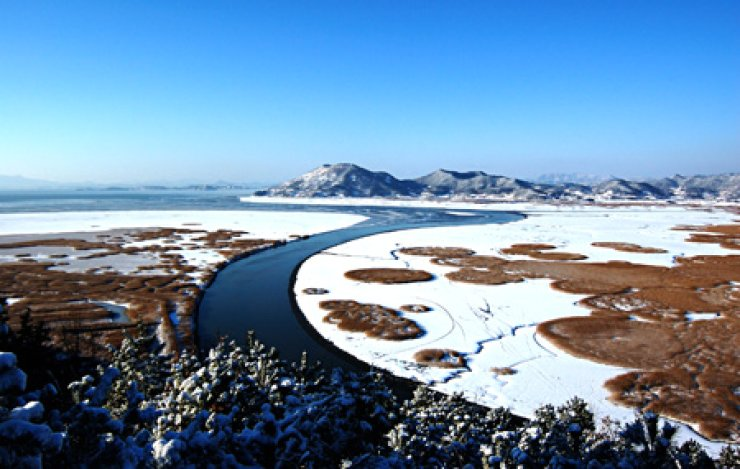An aerial view of the Suncheon Bay Ecological Park in Suncheon, a southern coastal city in South Jeolla Province