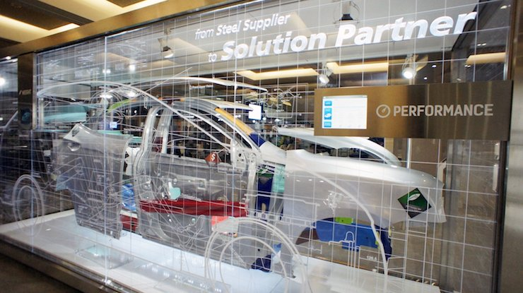 POSCO displays a self-developed vehicle body applied with the company's so-called 'Giga Steel' plates at the North American International Auto Show in Detroit, Michigan, last year. / Courtesy of POSCO