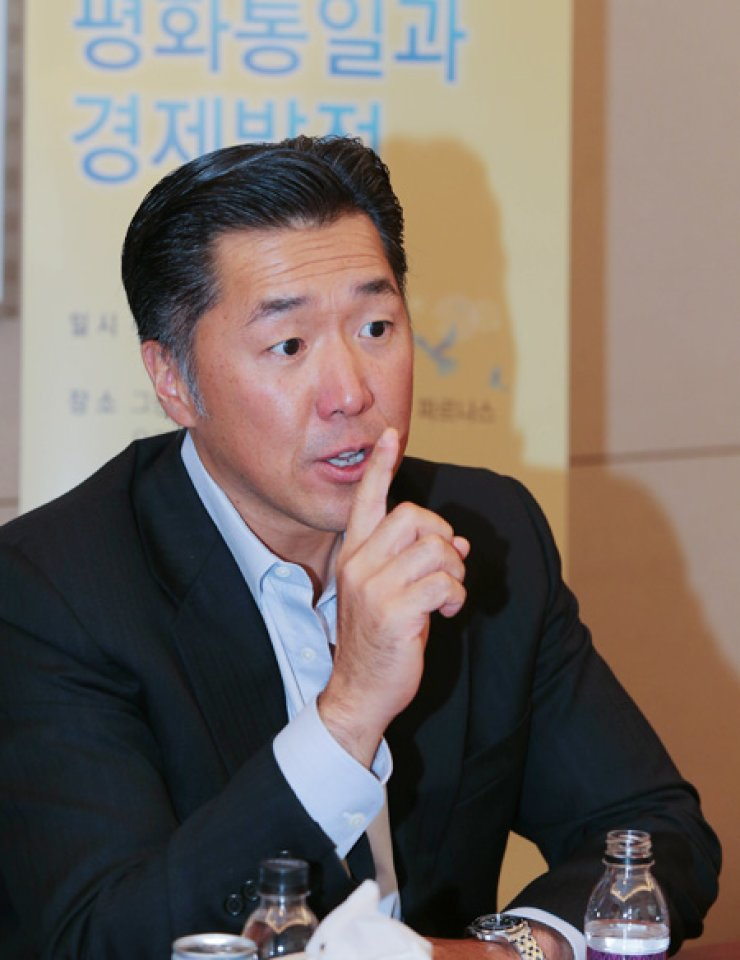 Chairman of the Global Peace Foundation (GPF) Moon Hyun-jin speaks during an interview with The Korea Times at the Grand Intercontinental Hotel in Seoul on Oct.7. / Courtesy of GPF
