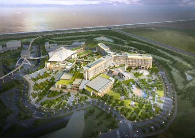 An artist's rendering of Paradise City, Korea's first integrated resort that will be built on Yeongjong Island, Incheon, jointly by Paradise Group and Sega Sammy Holdings in 2017 / Courtesy of Paradise Group