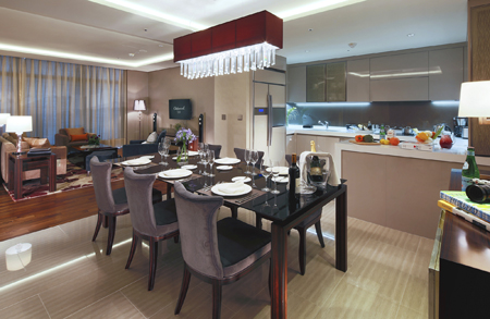 A Kitchen In Three Bedroom Apartment At Oakwood Premier Incheon