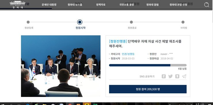 Over 200,000 people joined an online petition calling for the investigation of actress sisters' 2009 suicide case / capture image from Cheong Wa Dae site