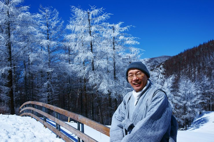 Ven. Inkyung smiles in this photo taken in March 2013 at the Daegwallyeong Sheep Farm in the eastern mountainous county of PyeongChang. Courtesy of MPCA