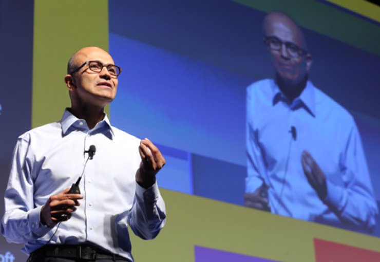 Microsoft CEO Satya Nadella delivers a keynote speech at this year's 'Tech Days Korea 2014' conference at the Grand InterContinental Hotel, southern Seoul, Wednesday. / Yonhap