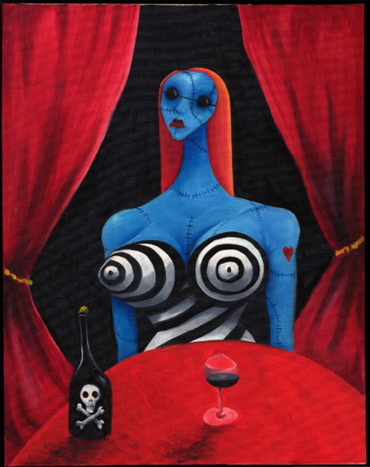 'Blue Girl with Wine' by Tim Burton Courtesy of the artist