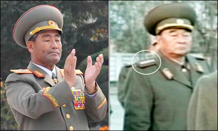 Photos above show Kim Kyok-shik, right, a new minister of the People's Armed Forces in North Korea, replacing Kim Jong-gak, left, who was removed from the post only seven months into his job. / Yonhap