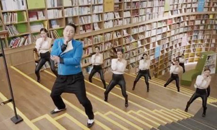 Psy performs in his 'Gentleman' music video.