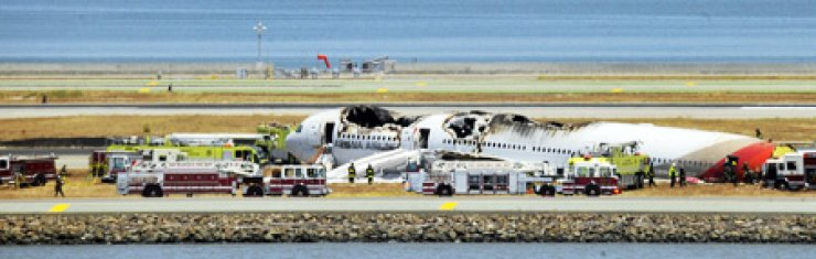 An Asiana Airlines Boeing 777 on the runway at San Francisco International Airport after crash landing, Saturday. The jet's belly was surrounded by firefighters. / AFP-Yonhap