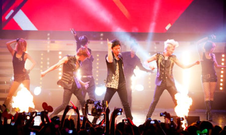 JYJ performs at Caupolican Theatre in Santiago, Chile, on March 9, 2012./ Korea Times