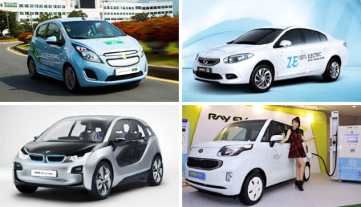 Competition to take leadership in the electric vehicle market is expected to heat up next year. Clockwise from top left are GM Korea's Spark E.V., Renault Samsung Motors' SM3 Z.E., Kia Motors' Ray E.V. and the BMW i3./ Korea Times files