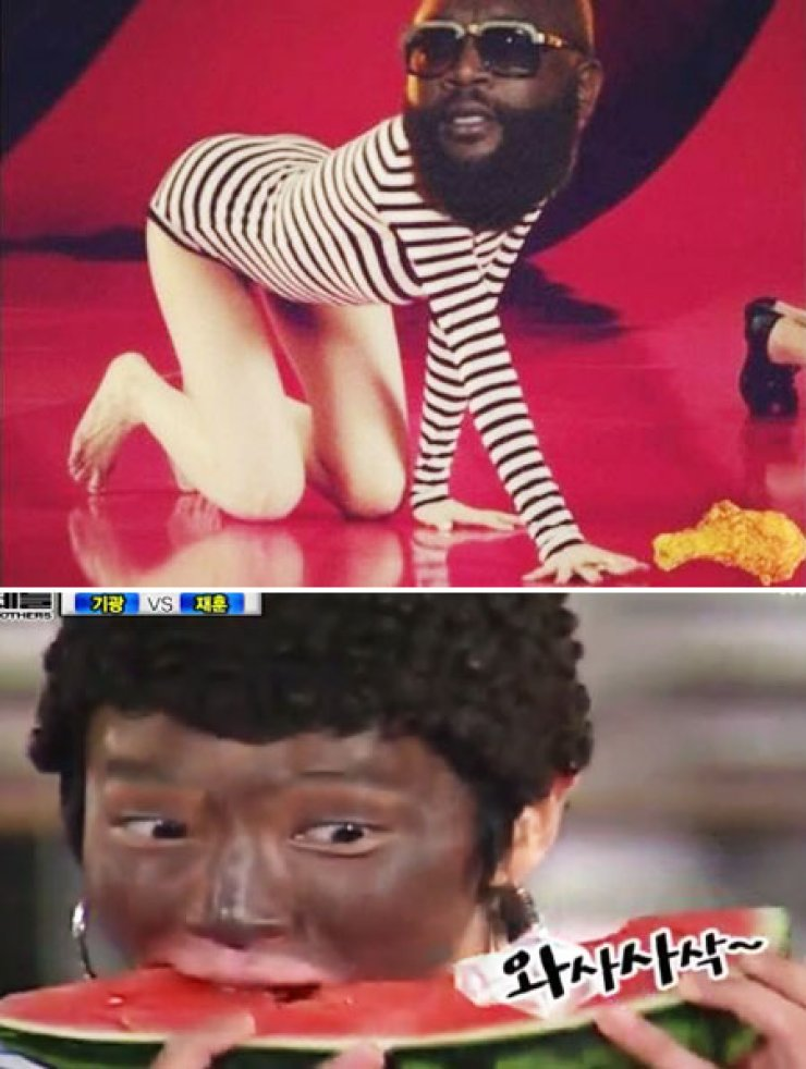 Min, a member of miss A, came under criticism last month for posting the top photo on her Instagram account. In the above photo, K-pop group BEAST member Lee Gi-kwang with his face painted black voraciously eats a piece of watermelon during a comedy show aired in July 2010. There are many other K-pop musicians who have gotten their face painted black in order to entertain their fans, reflecting the racial insensitivity that exists in the K-pop scene. / Korea Times file