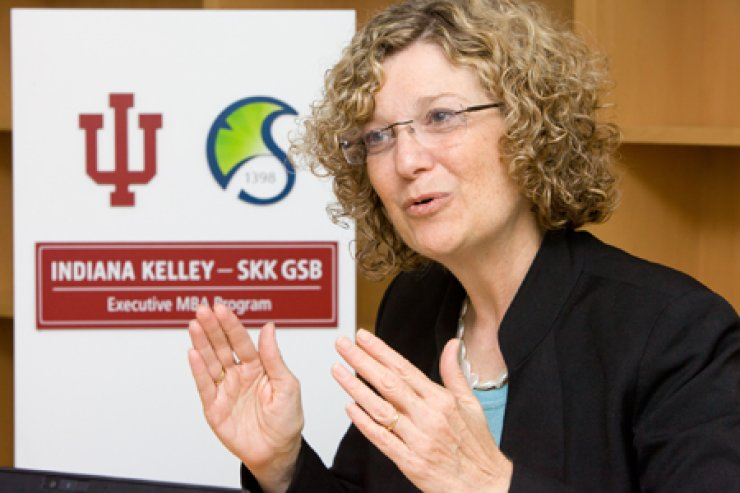 Idalene Kesner, dean of the Kelley School of Business, speaks during an interview with The Korea Times at Sungkyunkwan University in Seoul on Aug. 7. / Courtesy of Sungkyunkwan University
