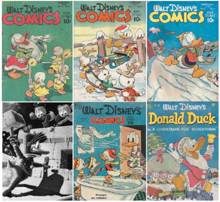 The first five photos clockwise from top left are a selection of Disney's Donald Duck comic books published between 1946 and 1950, belonging to the personal collection of Robert Neff. The black-and-white photo is a lithograph from Another Rainbow Publishing./ Courtesy of the Robert Neff Collection, Another Rainbow Publishing