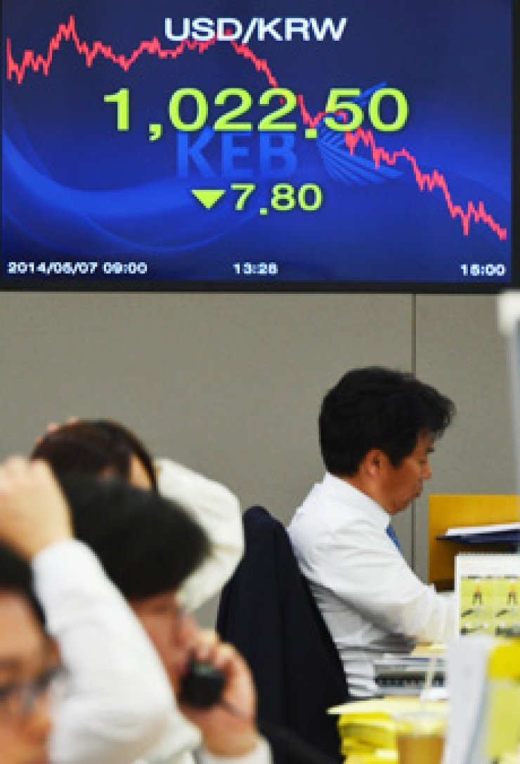 Currency dealers watch monitors at a Korea Exchange Bank branch in Seoul, Wednesday. The won ended at 1,022.5 per dollar, the strongest it has been in five years and nine months. / Yonhap