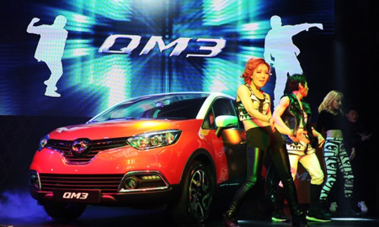 Renault Samsung Motors' new crossover utility vehicle, the QM3, alongside the QM5 Neo and SM3 Neo, has been pushing up the automaker's sales. / Courtesy of Renault Samsung Motors