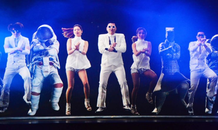 Holograms of singer Psy and dancers are screened at the Klive concert hall in Euljiro, Seoul, Jan. 16, which is capable of projecting holographic content. The venue and the concert have been co-arranged by the Ministry of Science, ICT and Future Planning, KT and YG Entertainment./ Courtesy of KT