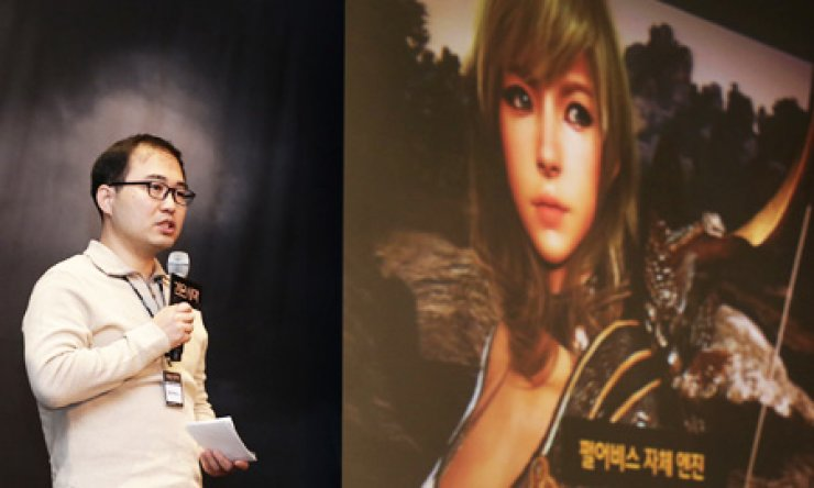 Pearl Abyss executive product manager Koh Do-sung speaks during a press conference at the Ritz-Carlton Hotel in Yeoksam-dong, southern Seoul, Tuesday, to announce the launch of the online game 'Black Desert' on Dec. 17./ Courtesy of Daum Games