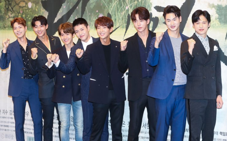 The actors of SBS' new epic fantasy romance drama 'Moon Lovers: Scarlet Heart Ryeo' pose during a press conference at Imperial Palace Hotel in southern Seoul, last Wednesday. From left are Hong Jong-hyun,Jisoo, Baek-hyun of EXO, Kang Ha-neul, Lee Joon-gi, Nam Joo-hyuk, Kim San-ho and Yoon Sun-woo. / Courtesy of CJ E&M