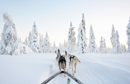 A view from outside the Santa's Celebration House at Kakslauttanen Arctic Resort in Lapland