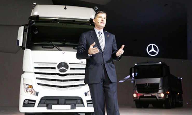 Rainer Gaertner, CEO of Daimler Trucks Korea, speaks during a launch ceremony for the company's new truck lineup at the Dongdaemun Design Plaza in downtown Seoul, Thursday. / Courtesy of Daimler Trucks Korea