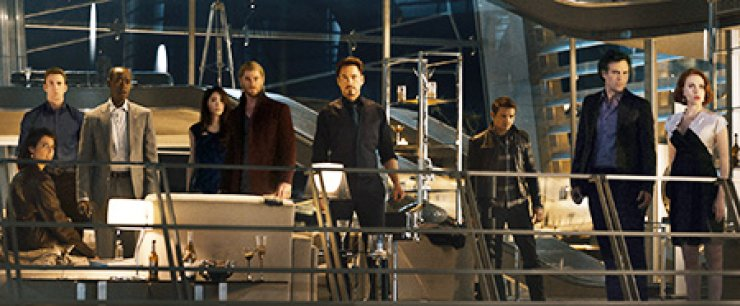 This photo provided by Disney/Marvel shows, from left, Cobie Smulders, seated, Chris Evans, Don Cheadle, Claudia Kim, Chris Hemsworth, Robert Downey Jr., Jeremy Renner, Mark Ruffalo and Scarlett Johansson in the film, 'Avengers: Age of Ultron.' / AP-Yonhap