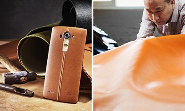 In the right photo, a worker sorts out leather to be used for the back of LG Electronics' G4 smartphone, which will be released on April 29. Left is the finished product. / Courtesy of LG Electronics