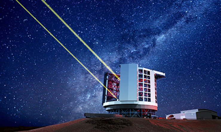 This virtual image shows the expected look of the Giant Magellan Telescope under construction on Las Campanas in Chile. When completed, it will be the world's largest astronomical telescope./ Courtesy of Korea Astronomy & Space Science Institute