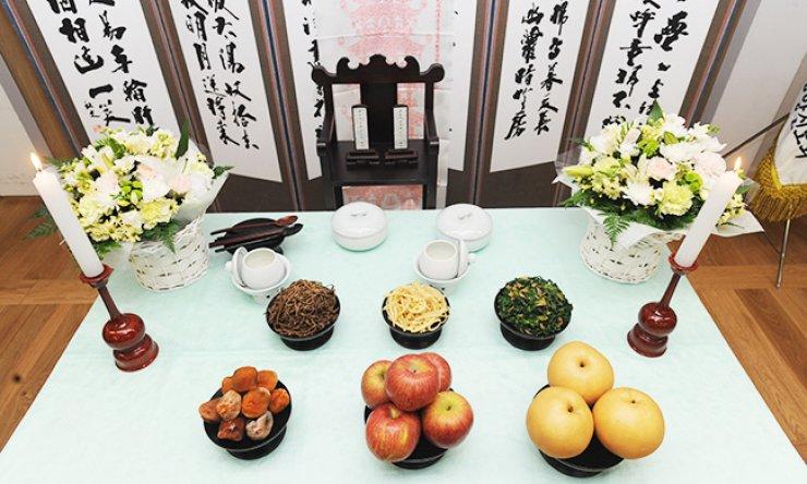 A ritual table to honor ancestors
