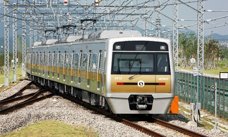A subway train produced by Hyundai Rotem runs on a railway. The company is calling for the government's support to win momentum for a rebound amid declining sales due to weak domestic demand and fiercer competition with Chinese rivals. / Courtesy of Hyundai Rotem
