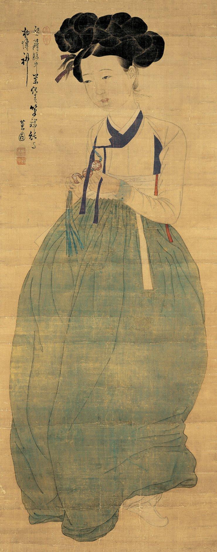 Portrait of a Joseon lady by 18th century painter Shin Yun-bok/ Korea Times file