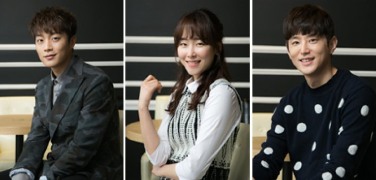 Actors starring in the second season of tvN's 'Let's Eat' are joined at a group interview at the M Academy in Sinsa-dong, southern Seoul, Monday. From left are Yoon Du-jun, Seo Hyun-jin and Kwon Yul. / Courtesy of CJ E&M