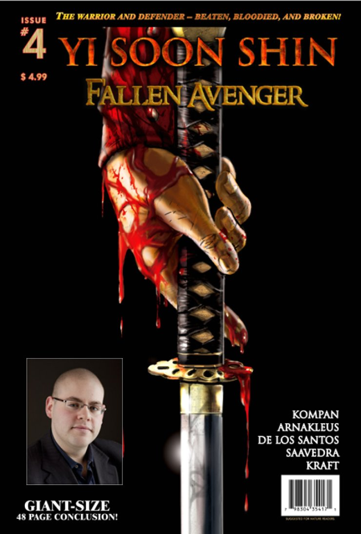 The cover of graphic novel, 'Yi Soon Shin: Fallen Avenger #4,' and its writer Onrie Kompan / Courtesy of Onrie Kompan Productions