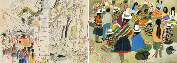 Chung Kyung-ja's 'Honolulu,' left, was offered at the Seoul Auction last month. On the right is Chun's 1993 painting of a market in Granada, Spain. / Yonhap