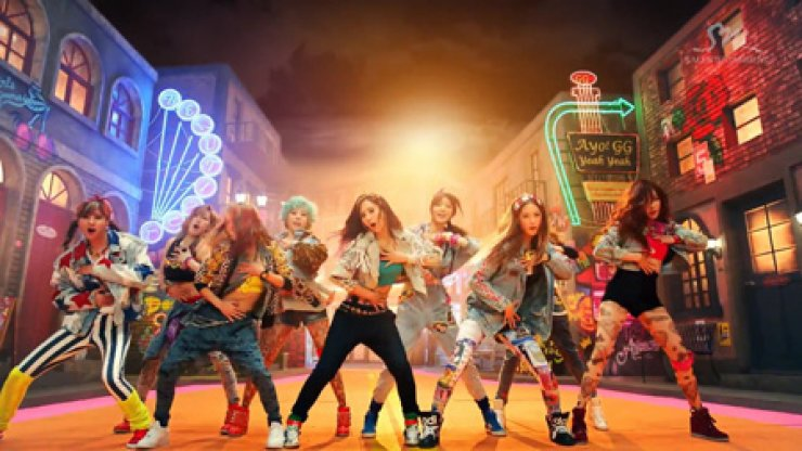 Seen is an image captured from Girls' Generation's 'I Got A Boy' music video, recognized as 'Video of the Year' at the inaugural YouTube Music Award in New York, Monday. Some American citizens reacted angrily, calling the nine-member K-pop band 'CHING CHANG CHONG.'/ Courtesy of SM Entertainment
