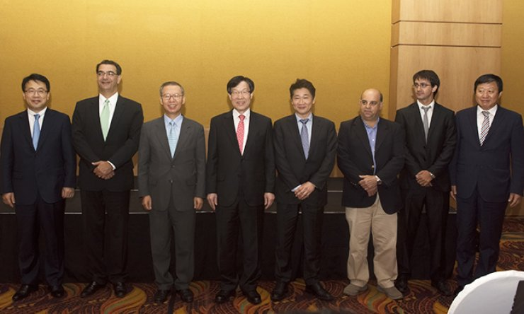 POSCO Chairman Kwon Oh-joon, fourth from left, with company executives during a ceremony to mark the construction of the steelmaker's lithium processing plant in Salta, Argentina, Sunday (local time). / Courtesy of POSCO
